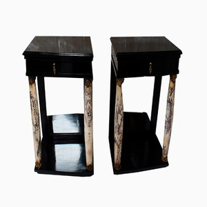 Antique Empire French Ebonized Nightstands, Set of 2