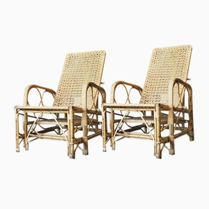 Antique Rattan and Bamboo Steamer Deck Chairs from Bohwards of London, 1920s, Set of 2
