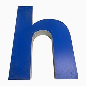 Panneau Lettre H Vintage en Métal