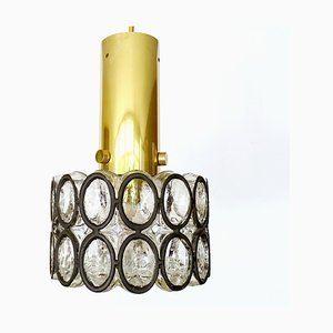 Mid-Century Glass and Brass Pendant Lamp from Limburg, 1970s