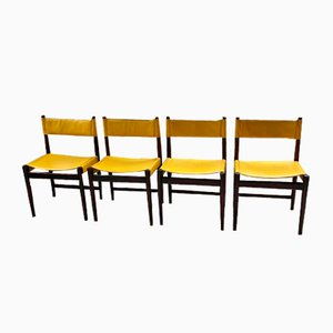 Rosewood and Leather Dining Chairs by Arne Vodder for Sibast, 1950s, Set of 4
