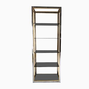 Chrome and Brass Shelf by Renato Zevi for Romeo Rega, 1970s