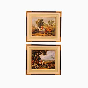 Antique Prints of Hunting Scenes in France, Set of 2