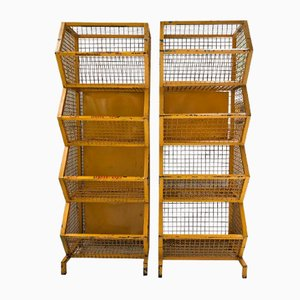 Industrial Yellow Storage Shelves, 1960s, Set of 2