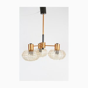 Large Mid-Century Copper and Glass Pendant Lamp