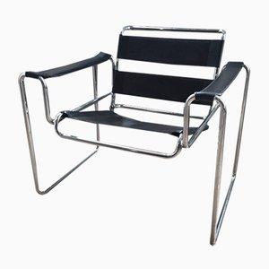 Fauteuil Bauhaus en Cuir et en Chrome, 1980s