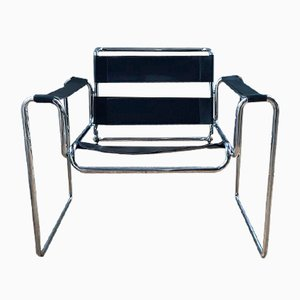 Bauhaus Leather and Chrome Lounge Chair, 1980s