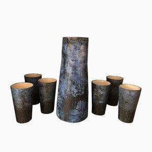 Conjunto de jarra y jarra francesa de cerámica de Jacques Blin, años 50