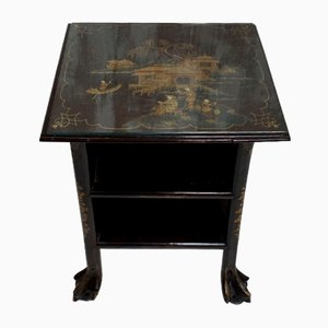 Chinoiserie Lacquered Side Table with Claw Feet, 1920s