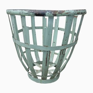 Vintage Industrial Art Deco Metal Garden Basket