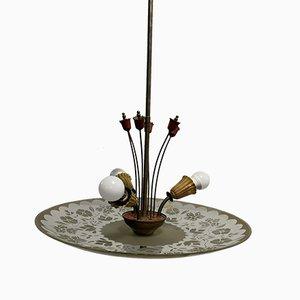 Lampada da soffitto in ottone, anni '50