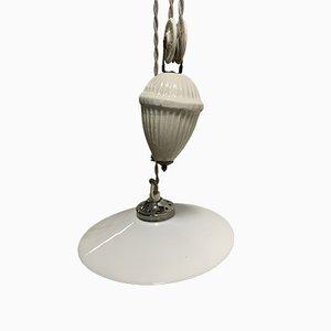 Italienische Porzellan und Opalglas Deckenlampe, 1930er