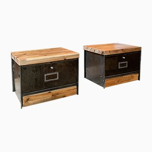 Industrial Metal and Wood Nightstands from Roneo, 1960s, Set of 2