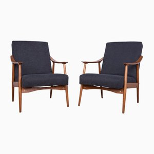 Czech Black Armchairs, 1960s, Set of 2