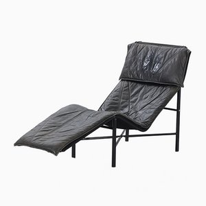 Vintage Black Leather Model Skye Lounge Chair by Tord Björklund for Ikea