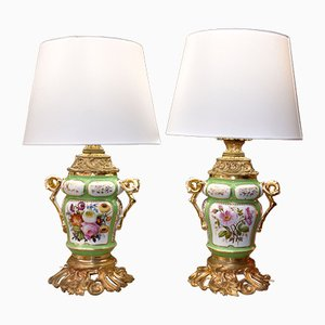 19th Century Louis Philippe Porcelain Table Lamps, Set of 2