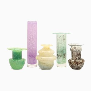 Vintage Swedish Colored Hand Blown Glass Vases from Ekenäs, Set of 5