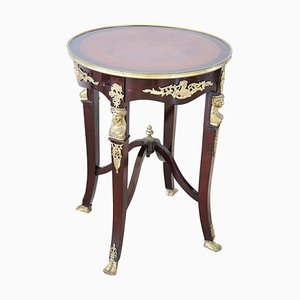 Vintage Round Mahogany and Gilded Bronze Coffee Table, 1940s