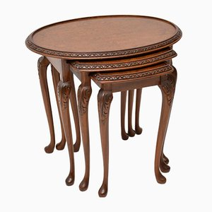 Antique Burr Walnut Nesting Tables, 1930s