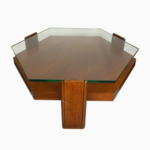Mid-Century Italian Rosewood and Glass Coffee Table, 1970s