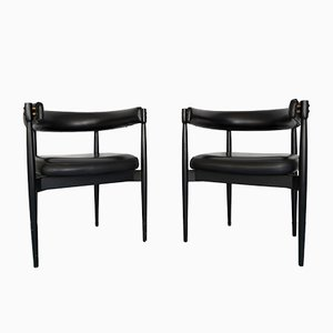 Vintage Italian Black Leatherette Armchairs, 1950s, Set of 2