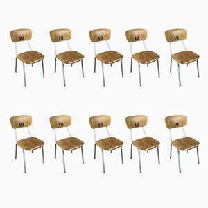 Vintage Industrial Dining Chairs, 1970s, Set of 10