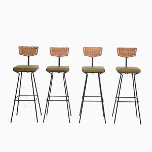 Mid-Century Wicker Bar Stools by Herta Maria Witzemann for Erwin Behr, 1950s, Set of 4