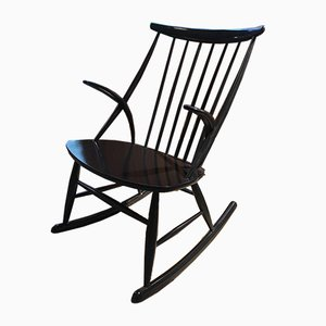 Vintage Black Rocking Chair by Illum Wikkelsø for Niels Eilersen, 1960s
