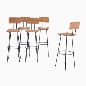 Mid-Century Wicker Bar Stools by Gian Franco Legler, 1950s, Set of 5