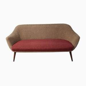 Bicolor 3-Seater Boucle Sofa, 1950s
