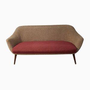 Bicolor 3-Seater Boucle Sofa, 1950s