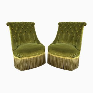 Napoleon III Crapaud Style Lounge Chairs, 1930s, Set of 2