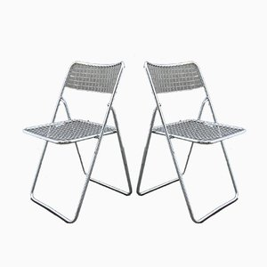 Metal Folding Chairs, 1980s, Set of 2
