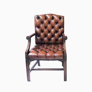 George III Leather Chesterfield Gainsborough Carver Armchair with Deep Button Seat
