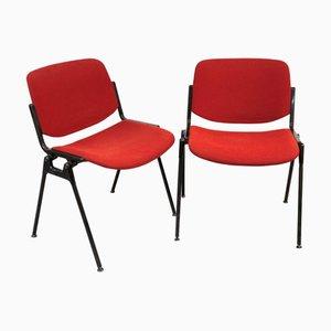 Rote Italienische Modell DSC 106 Schreibtischstühle von Giancarlo Piretti für Castelli / Anonima Castelli, 1988, 2er Set