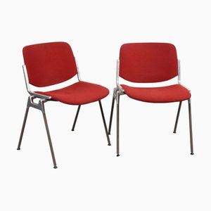 Italian Red Model DSC 106 Desk Chairs by Giancarlo Piretti for Castelli / Anonima Castelli, 1988, Set of 2