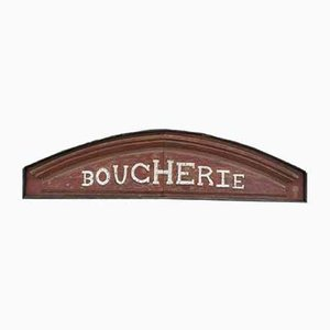 Vintage Patinated Oak Boucherie Sign, 1920s