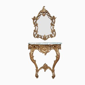 Louis XV Style Giltwood Console Table and Mirror Set, 1960s