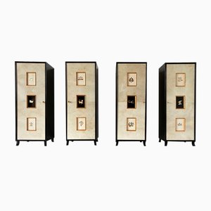 Art Deco Parchment Cabinets with Gold Leaf Zodiac Signs, 1940s, Set of 4