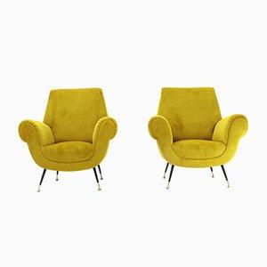 Italienische Sessel aus Ockerfarbenem Samt, 1950er, 2er Set