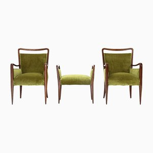 Italian Green Velvet Armchairs and Pouf Set, 1940s