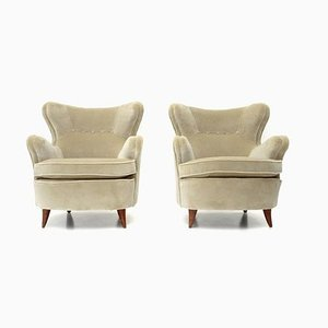 Italian Cream White Velvet Armchairs, 1940s, Set of 2