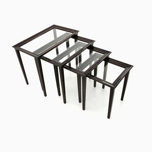 Italian Wood and Glass Nesting Tables, 1940s, Set of 4