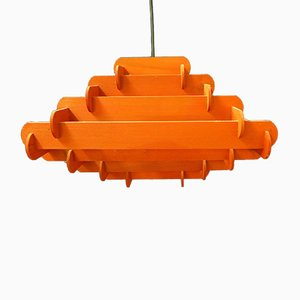 Lacquered Wood Ceiling Lamp, 1970s