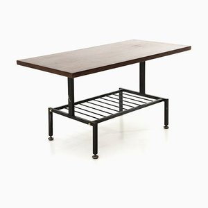 Black Painted Metal Coffee Table with Teak Top, 1950s