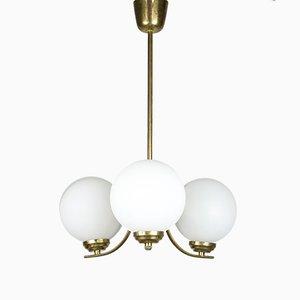 Lampada da soffitto Sputnik Mid-Century in ottone e vetro opalino