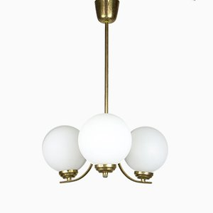 Mid-Century Sputnik Brass and Opaline Glass Ceiling Lamp
