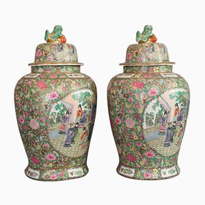 Large Vintage Art Deco Oriental Ceramic Baluster Urns, 1940s, Set of 2