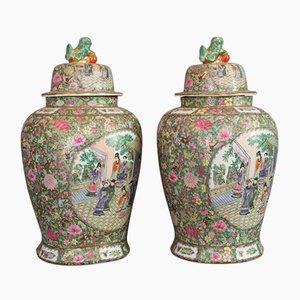 Urna Art Deco orientale in ceramica, anni '40, set di 2