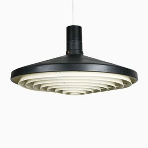 Mid-Century Industrial Danish Black Pendant Lamp, 1960s
